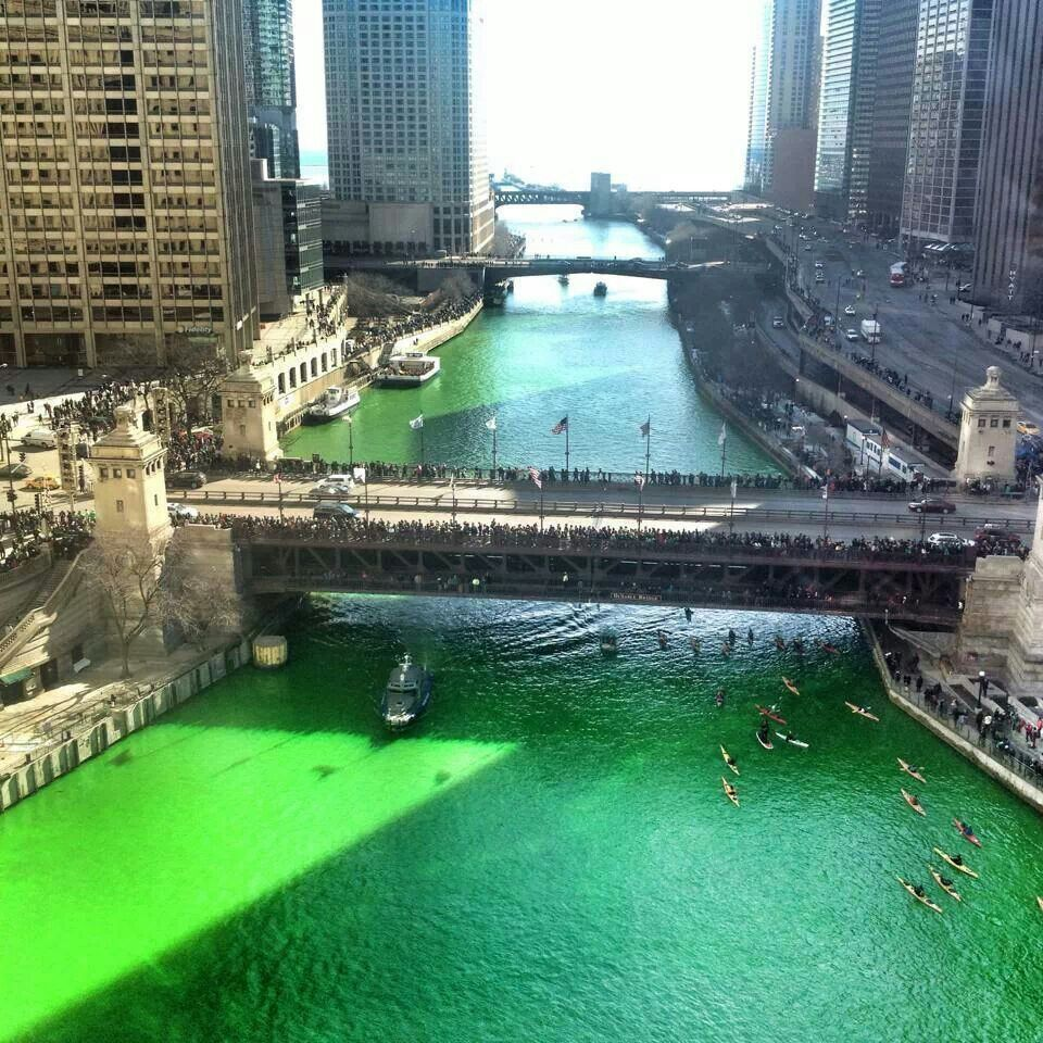 The green chicago river. Getting ready for St.Patricks day.