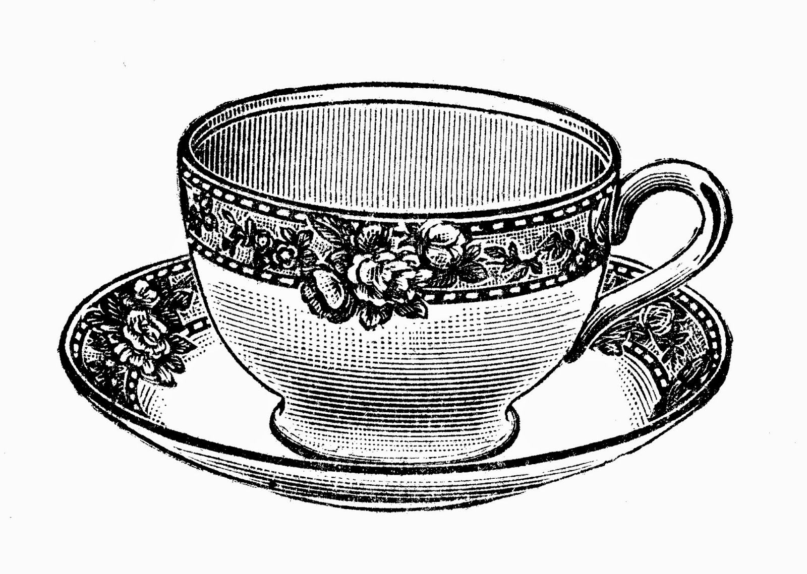 Tea Time Free Vintage Illustrations In Black And White