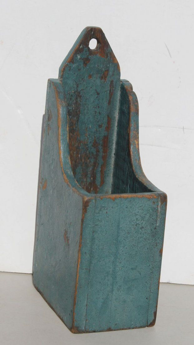 """19thC New England desirably diminutive hanging pine candle box in blue paint - 10"""" tall x 3 1/4"""" wide x 4 3/4"""" deep"""