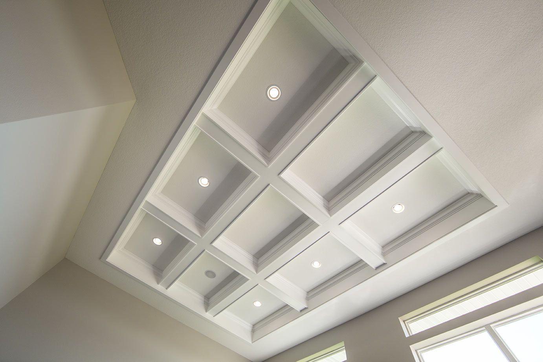 Intricate custom coffered ceiling