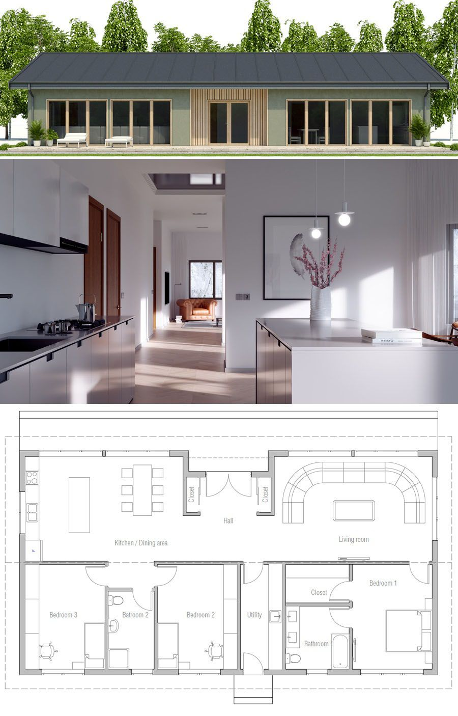 Single Story Home Plan Contemporary House Plans House Blueprints Modern House Plans