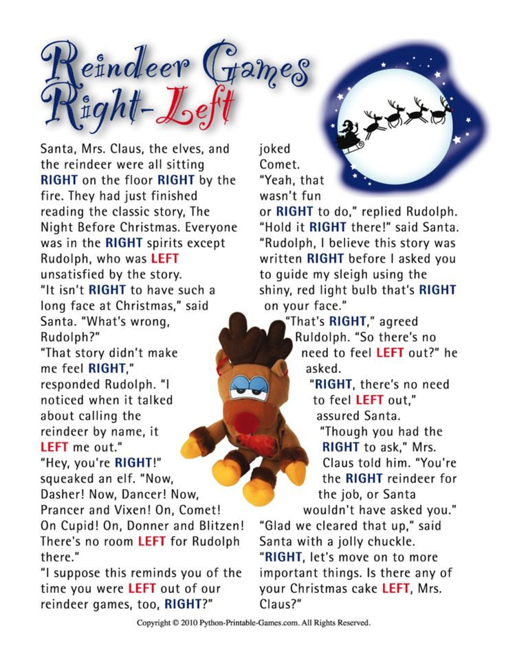Reindeer Games Right-Left Family Printable Christmas Game ...
