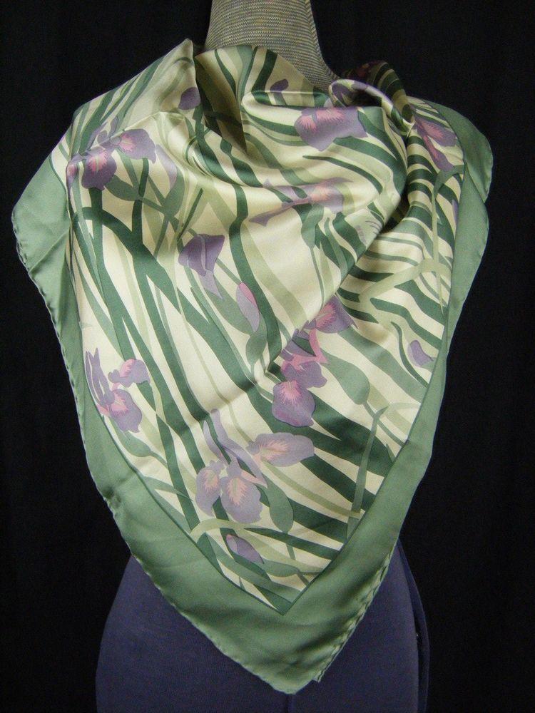 44fbc12c4d0 LIBERTY OF LONDON Vtg Soft Green Purple Iris All Silk Largre Square Scarf-35