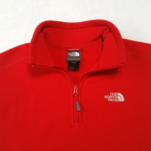 f13cd585b The-North-Face-Red-Waffle-Square-Fleece-1-4-Zip-Pullover-Jacket-Mens ...