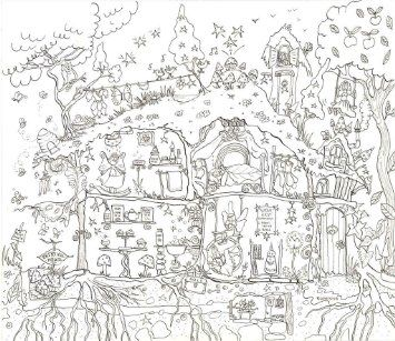 Really Giant Posters Fairy House Colouring Poster by ...