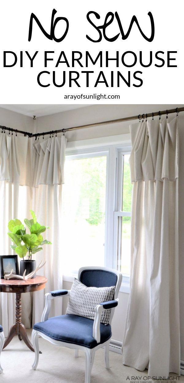 Photo of Cheap DIY Farmhouse Drop Cloth Curtains