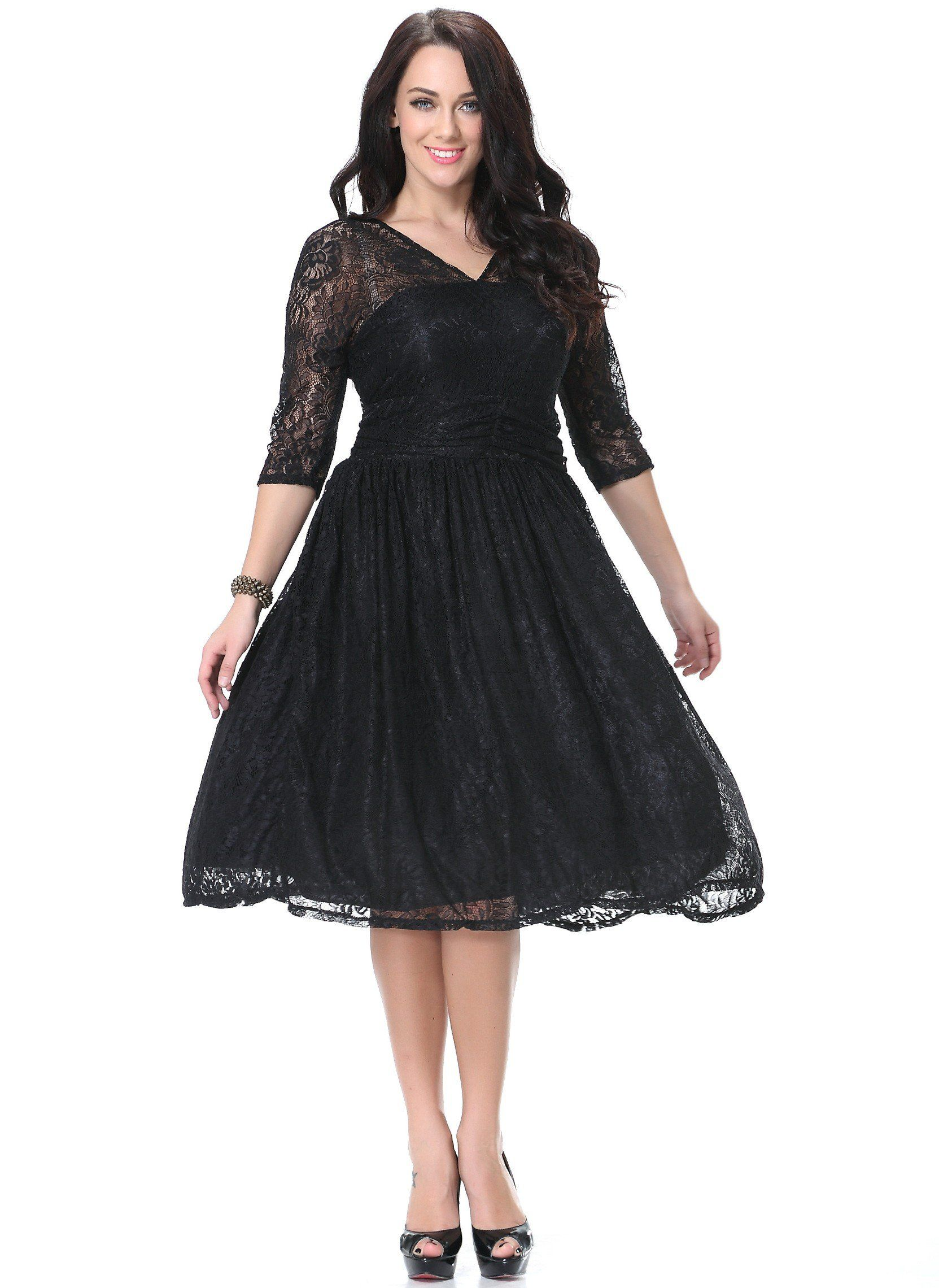 Plus Size Black Lace V Neck Summer Dress with Ball Gown Skirt ...