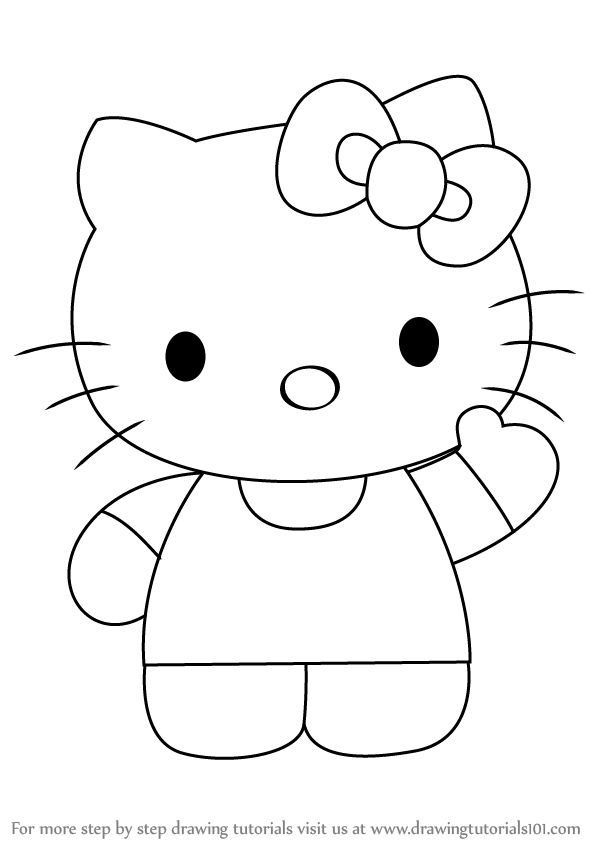How To Draw Hello Kitty Drawingtutorials101 Com Hello Kitty Drawing Kitty Coloring Kitty Drawing