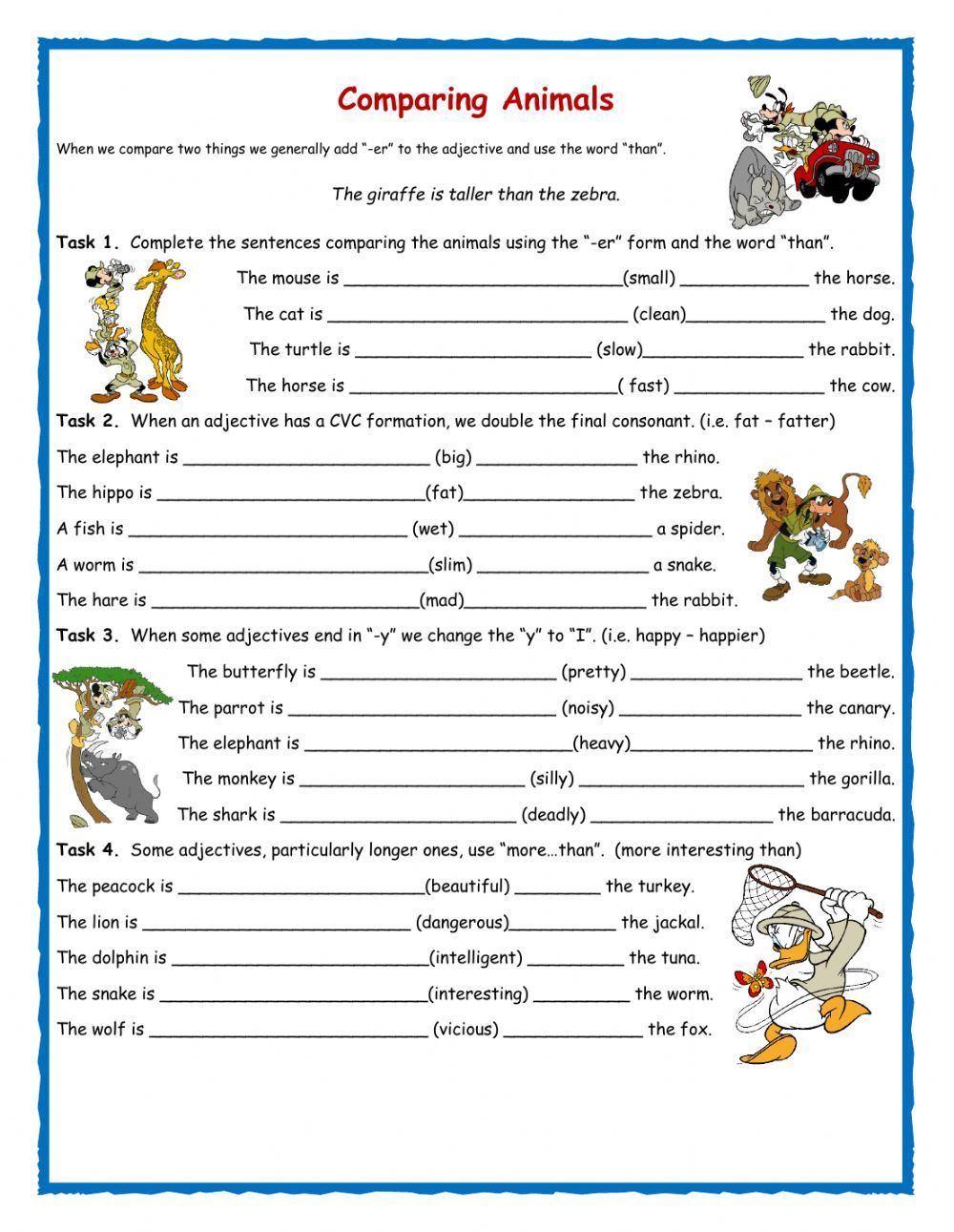 Comparatives interactive and downloadable worksheet. Check