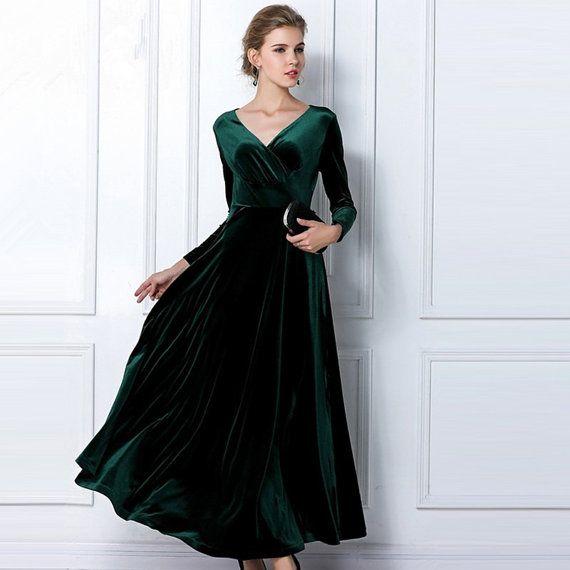 Emerald Green Velvet Dress Long Party Formal Evening Maxi ...