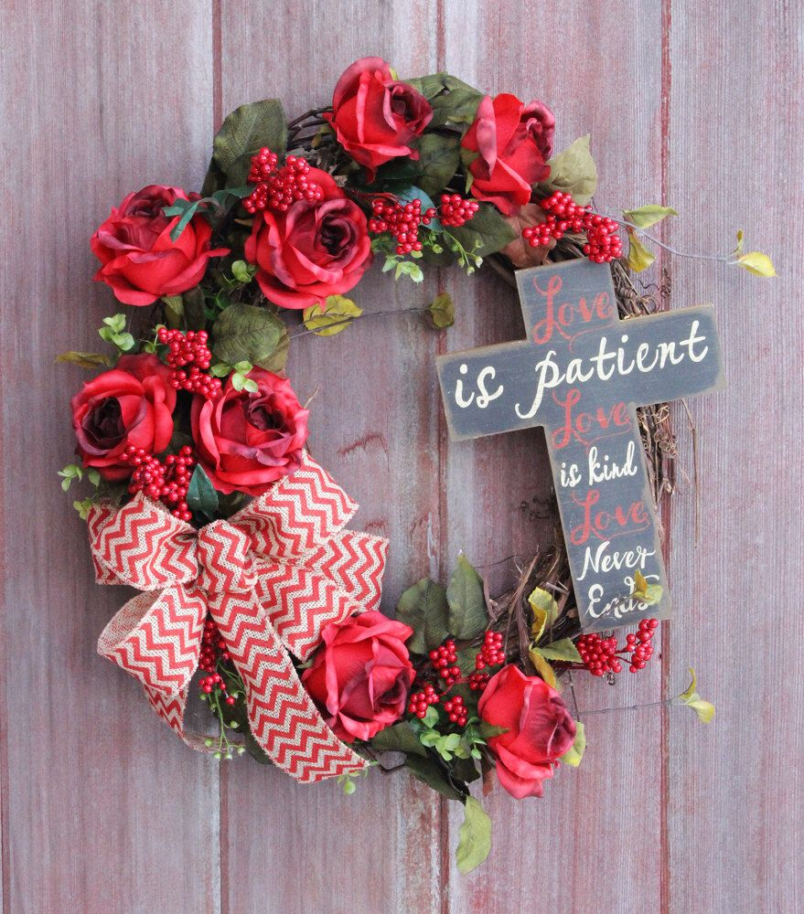 Valentines Day Wreath Rustic Front Door Welcome Everyday Grapevine Red Rose Cross By Hilltoprustics On