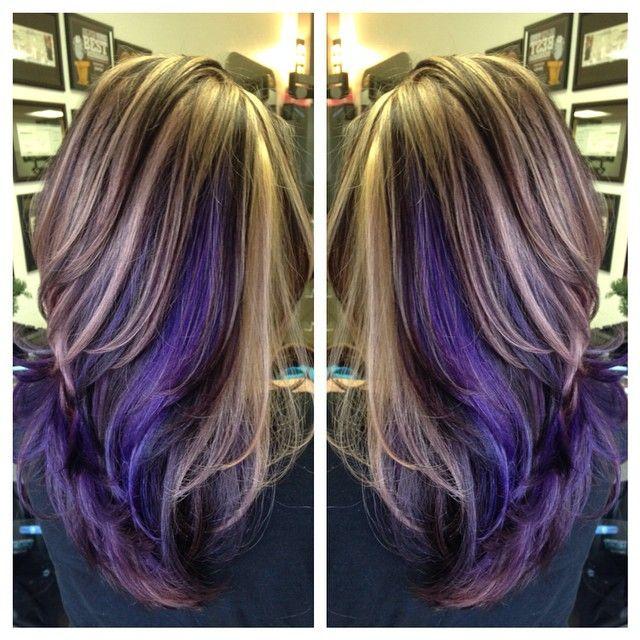 Purple Peek A Boo High Lights Anything Hair Pinterest