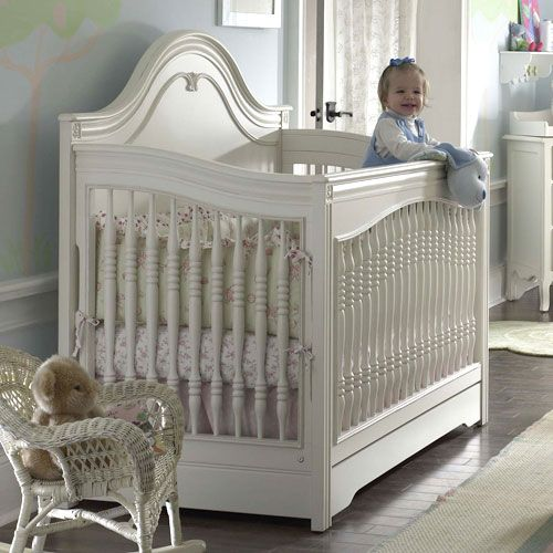 Nursery Necessities Baby Cribs Marcella Convertible Crib In Antique White  at PoshTots - Marcella Convertible Crib In Antique White From PoshTots Nursery
