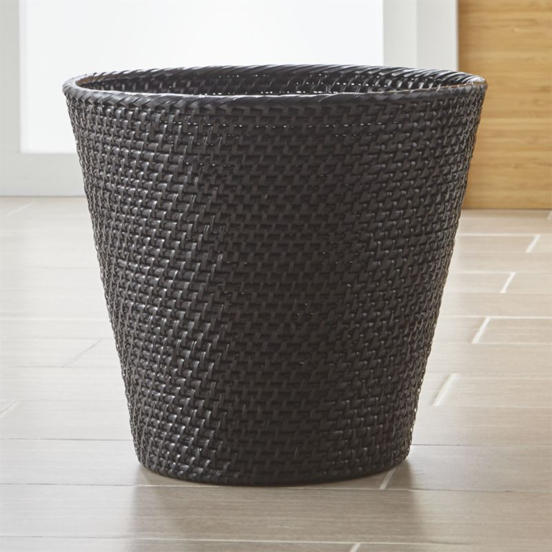 Sedona Black Bathroom Trash Can Tapered Wastebasket Takes Care Of The With Loads Texture Handwoven Sy Rattan