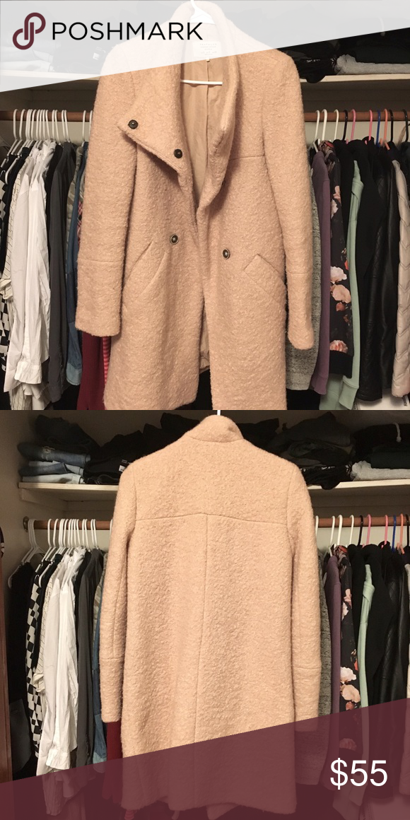 ZARA Pink Wool Peacoat Wool coat in perfect condition size small. Send me an offer! Zara Jackets & Coats Pea Coats