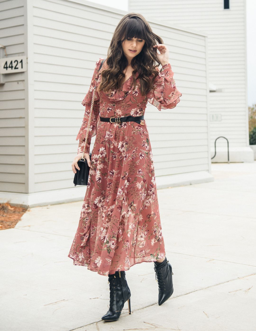 How To Wear Floral Dresses Year Round The M A Times Floral Dress Outfits Floral Dress Winter Floral Dress Black