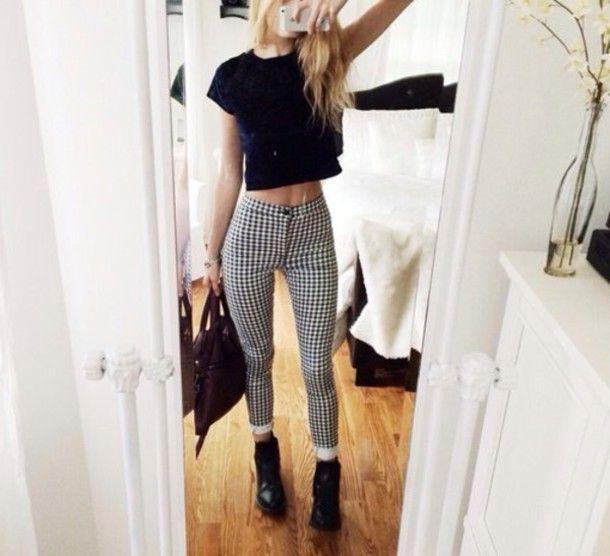 Jeans White Checkered Black Pants White Pants Black And