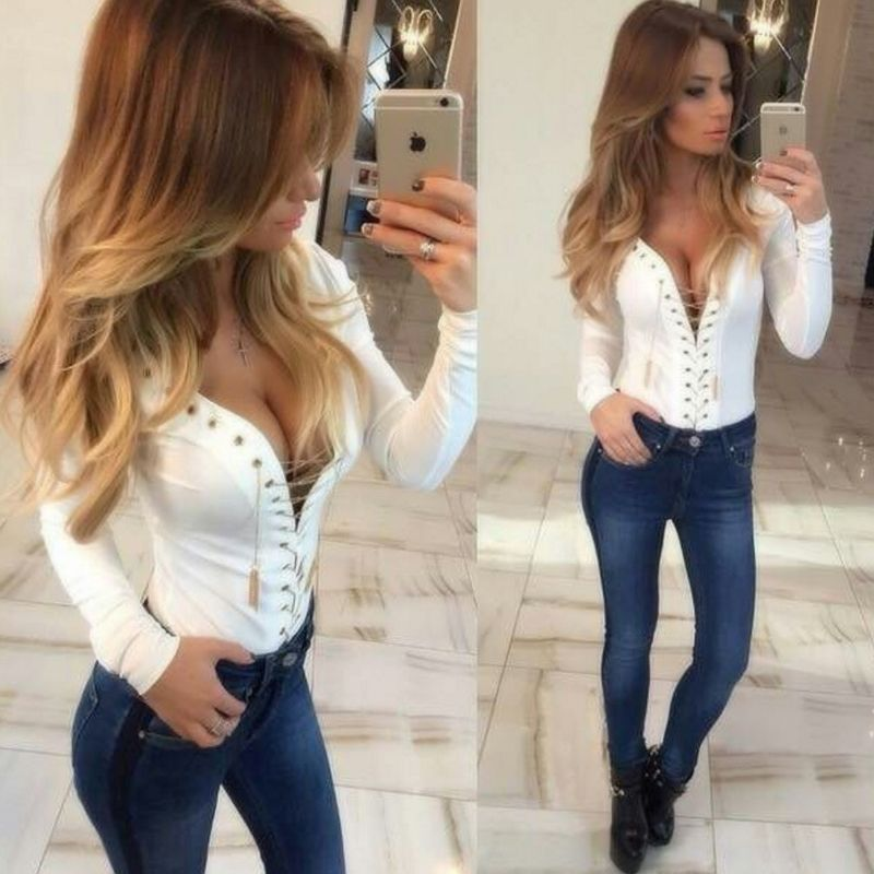 Womens-Lace-Up-Deep-V-neck-Tie-Front-Long-Sleeve-Blouse-Loose-Tops ...