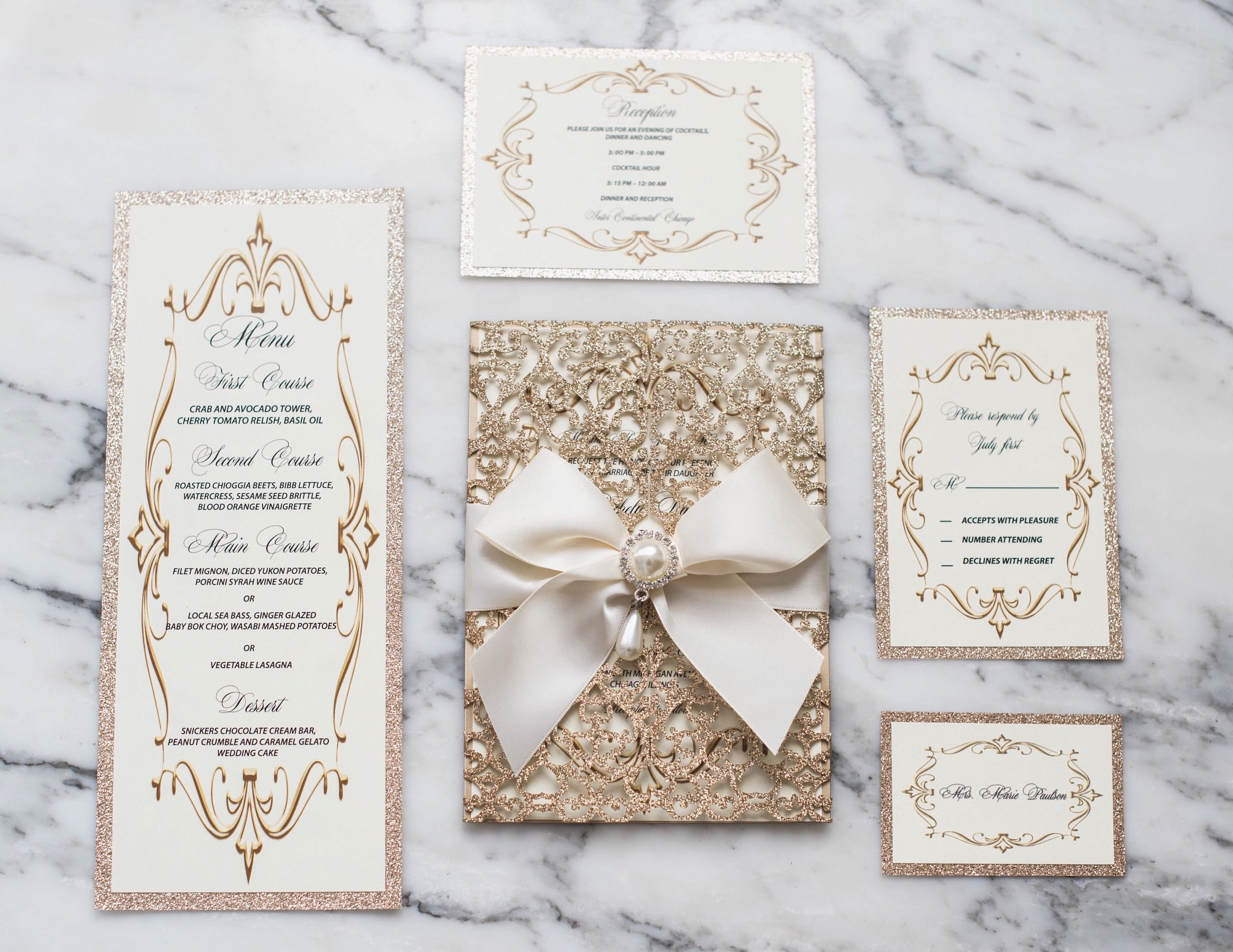 Luxury gold laser cut invitation suite | Future Wedding | Pinterest ...