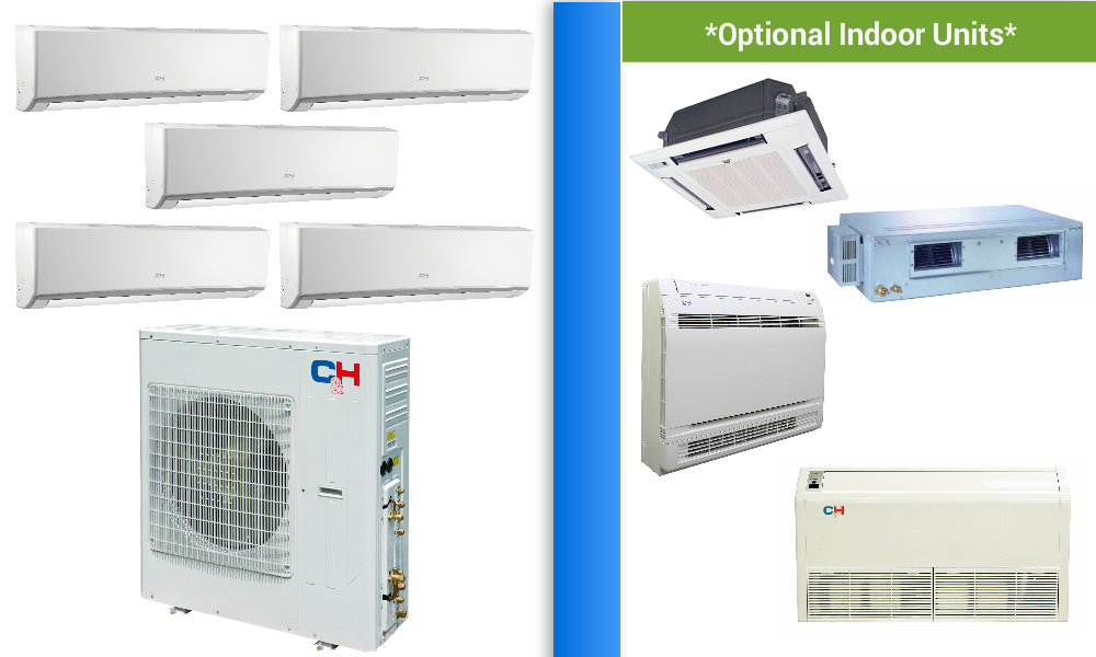 Multi Split Air Conditioner In Minisplitwarehouse Looking For A C H 5 Zone 42k Mini Split Heat Pump Ac Vi Heat Pump Heat Pump System Heat Pump Air Conditioner
