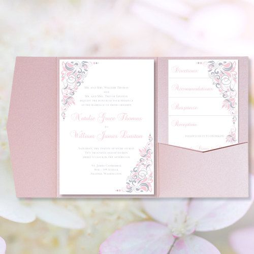 Pocket Fold Wedding Invitations  - microsoft word templates invitations