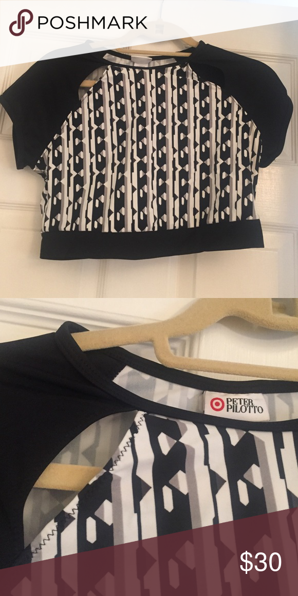 47063976a1c Peter Pilotto for Target Crop Top nylon/spandex crop top rash guard with  shoulder cut outs Peter Pilotto for Target Swim Bikinis