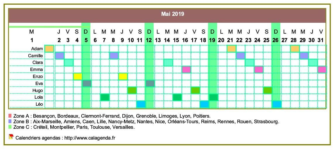 Calendrier 2019 Planning Horizontal Mensuel Calendrier