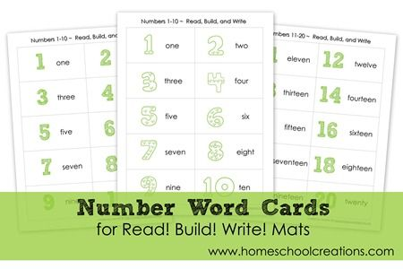 Number Word vocabulary cards to use in practicing spelling of number words. Also go along with Read! Build! Write! vocabulary mats from Homeschool Creations: http://homeschoolcreations.com/Read_Build_Write_Printables.html