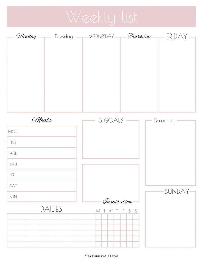 Wochentlicher Listenplaner Free Printable Kalender Vorlagen Druckbarer Wochenplaner Planer Tagebuch