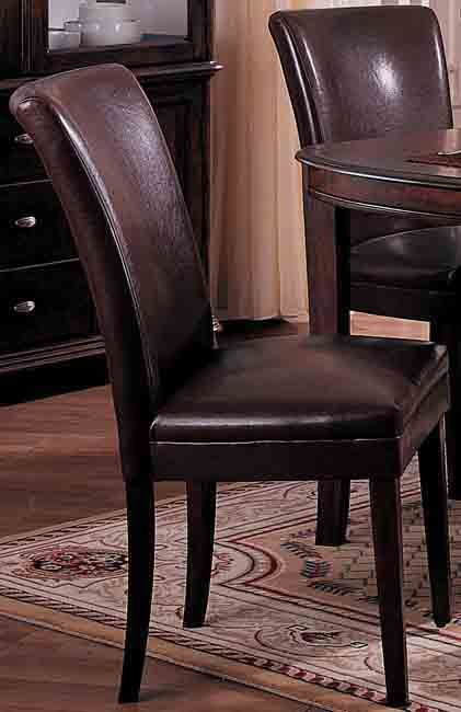 Chocolate Bicast Leather Parson Chairs