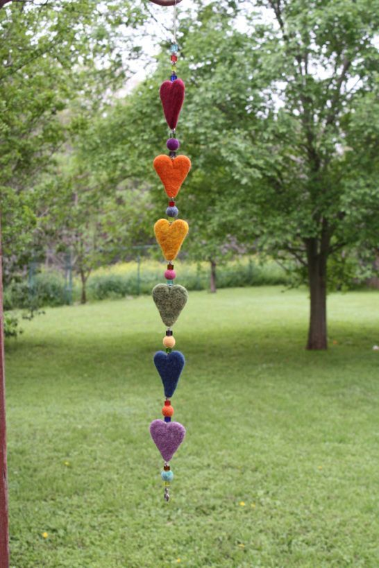 Needle Felting: A Felted Heart Garland or Dangler to Brighten Any Room! Free Tutorial