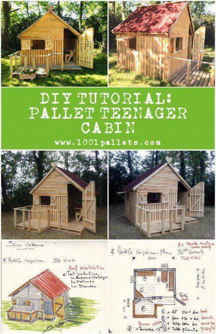Diy Pdf Tutorial Pallet Teenager Cabin 1001 Pallets Free Download Cabane Palette Maison Bois Et Cabane Jardin