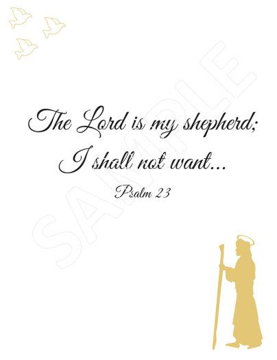 A digital wall or photo frame printable of Psalm 23 The Lord is my Shepherd... Available to download instantly and print off from the comfort of your home Would make a beautiful house warming gift, Christmas gift, for home decor and Christian gift A digital bible verse and Inspirational quote to fill you with joy and reassurance as you go about your day God Bless The 4 files you download will be free of watermarks and you will receive both the gold and silver versions of the print. Si...