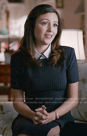 emily s pinstriped dress on designated survivor outfit