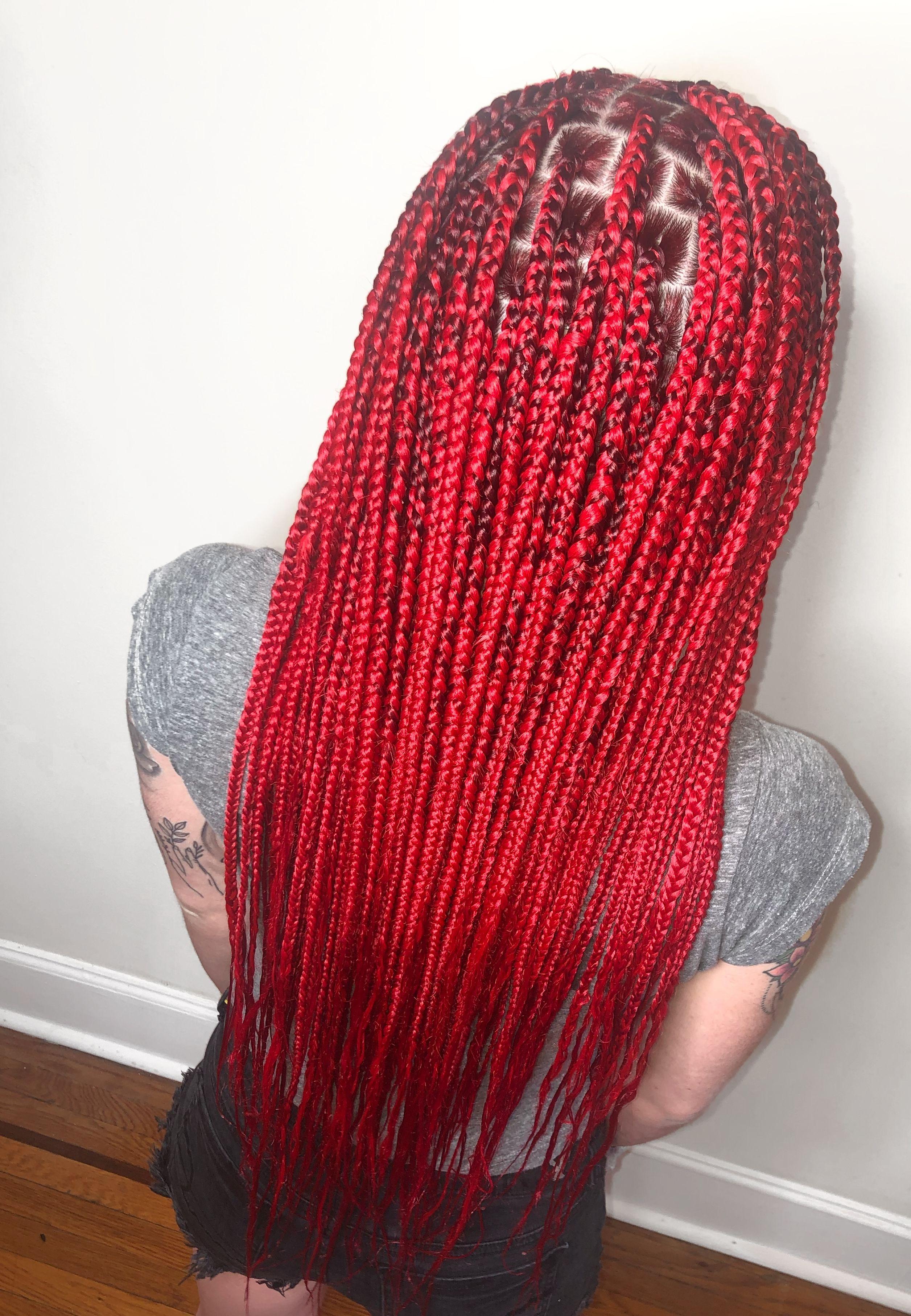 Red Knotless Braids Red Box Braids Braids Hairstyles