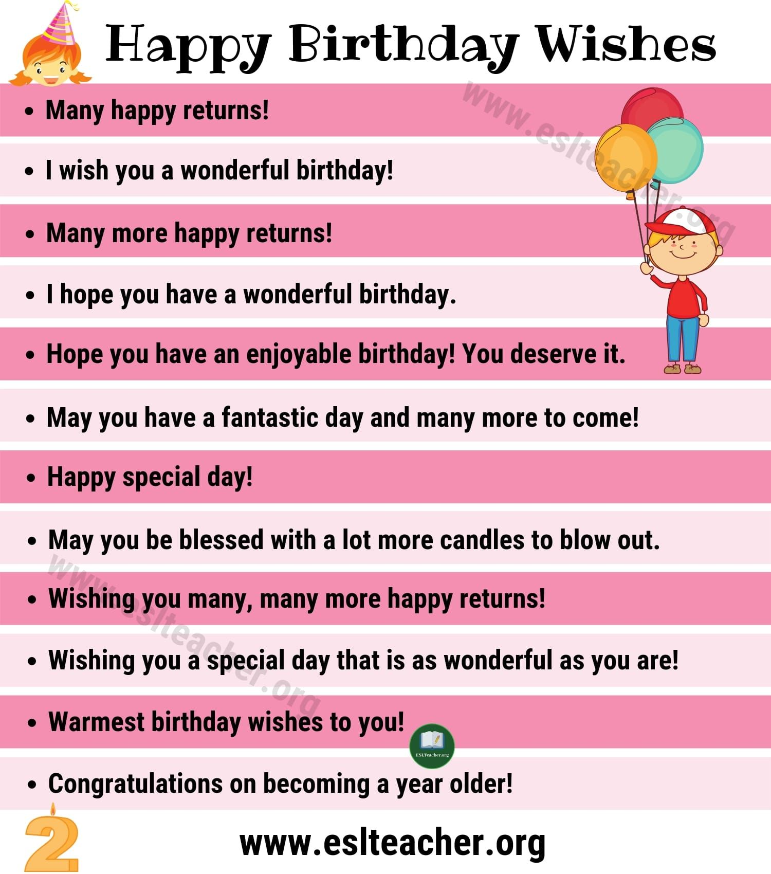 Birthday Wishes 35 Funny Ways To Say Happy Birthday In English Esl Teac Birthday Wishes For Teacher Happy Birthday Wishes Quotes Happy Birthday Text Message