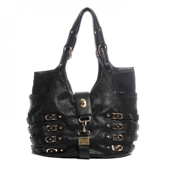 This is an authentic JIMMY CHOO Perforated Bardia Hobo in Black. This unique shoulder bag is crafted of relaxed perforated leather with studs, buckles and straps and tall looping shoulder straps.