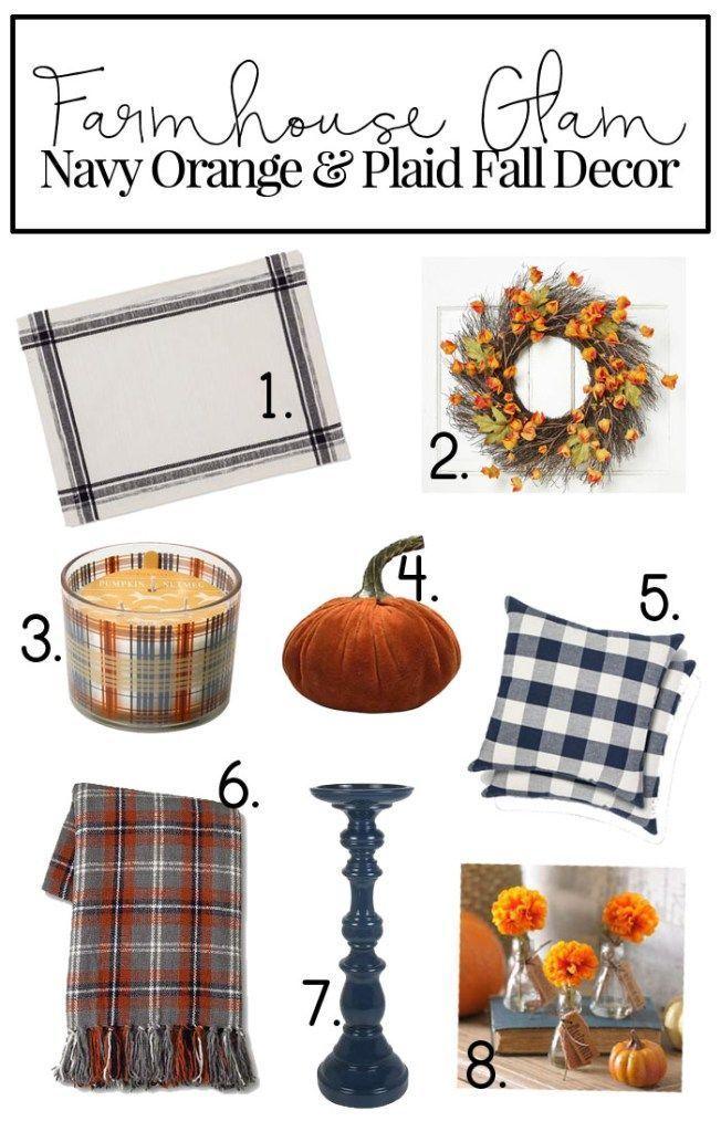 Fall Decor Trends + Navy, Orange & Plaid Fall bedroom