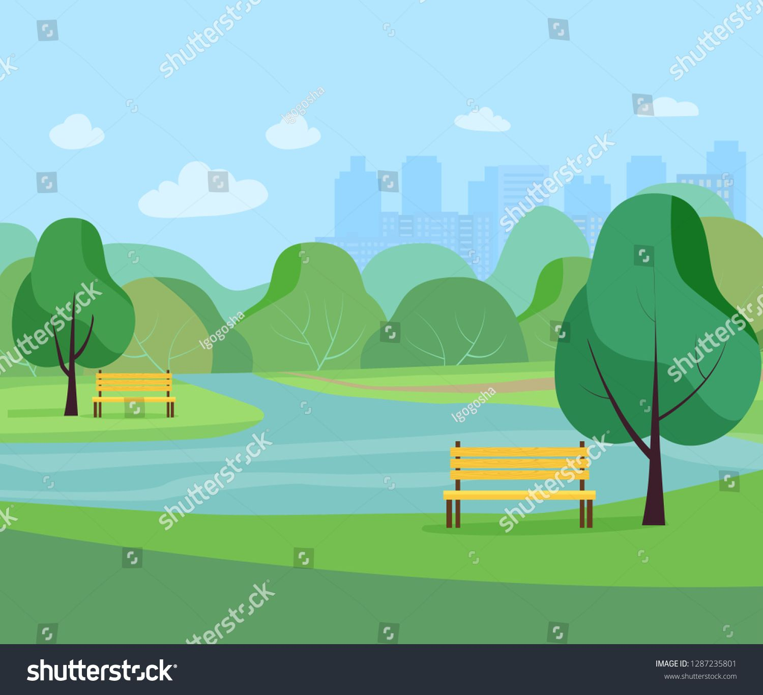Landscape In City Park Vector Flat Style Illustration Sponsored Affiliate Park City Landscape Vector City Landscape Landscape Park City