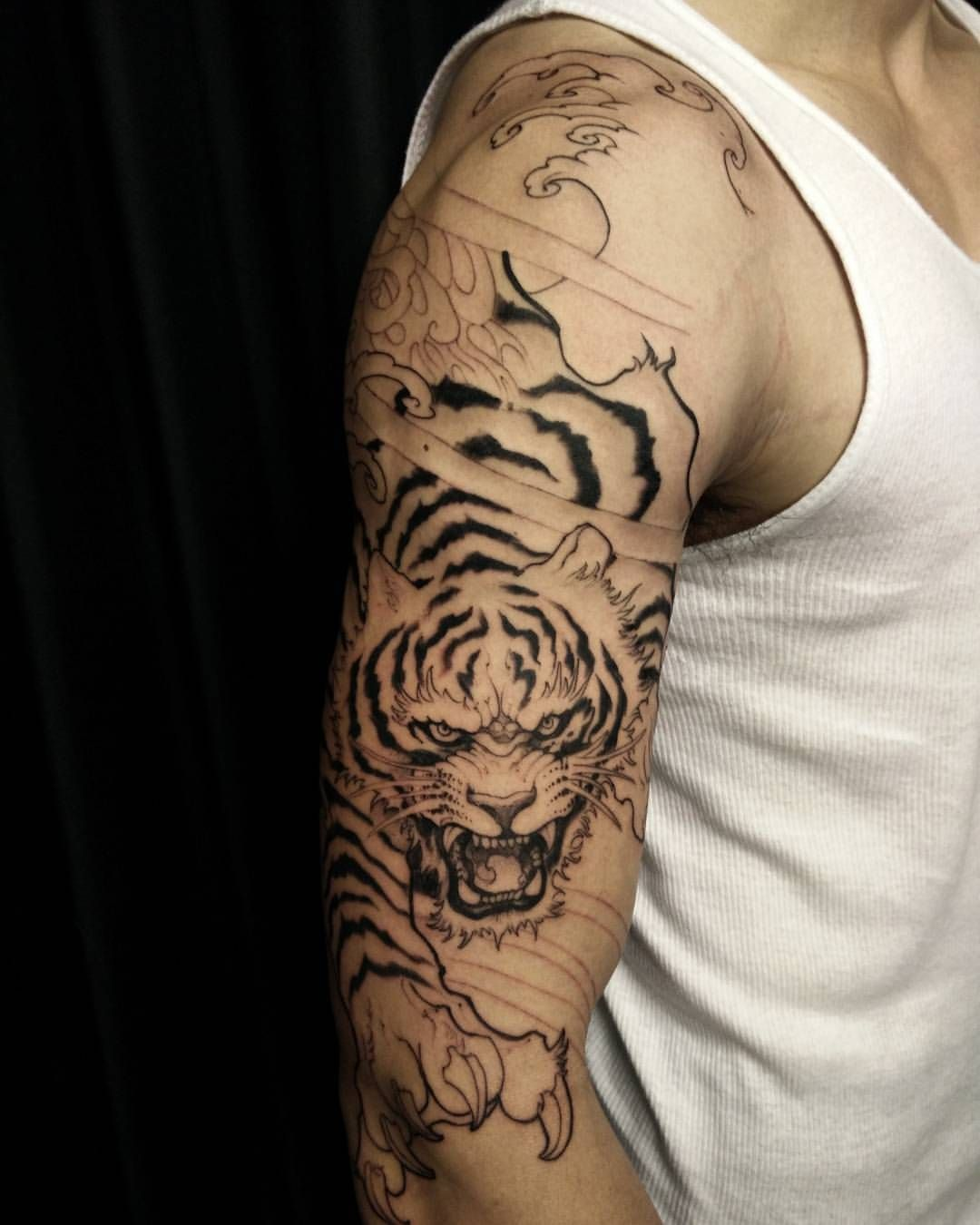 Tiger Half Sleeve. First Session. #chronicink #asianink