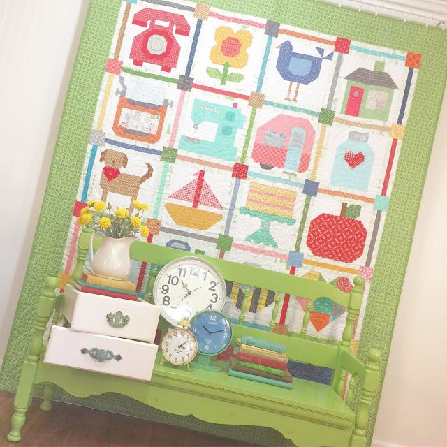 """Loving these sweet little projects from Lori Holt's new book Spelling Bee! Spelling Bee includes instructions for 100 blocks, Letter, Number, Punctuation and Picture blocks in two sizes ...6"""" and 12"""" PLUS 18 quilt projects! For more details, please visit: http://beeinmybonnetco.blogspot.it/2017/07/spelling-bee-book-is-here.html"""