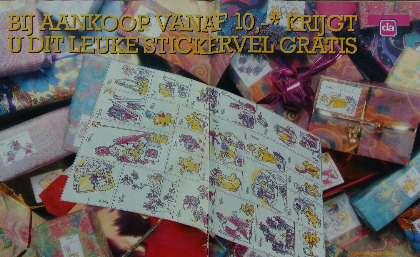 Sinterklaas cadeau/stickers  advertentie DA drogist