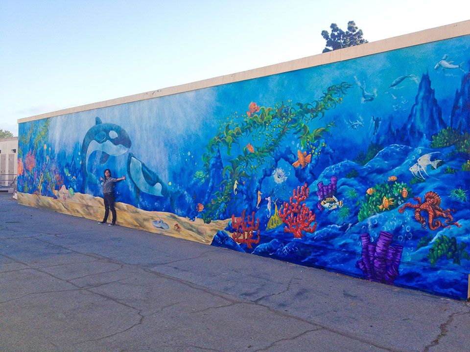 Philanthropic Under The Blue Sea Large Exterior Wall Mural By Big