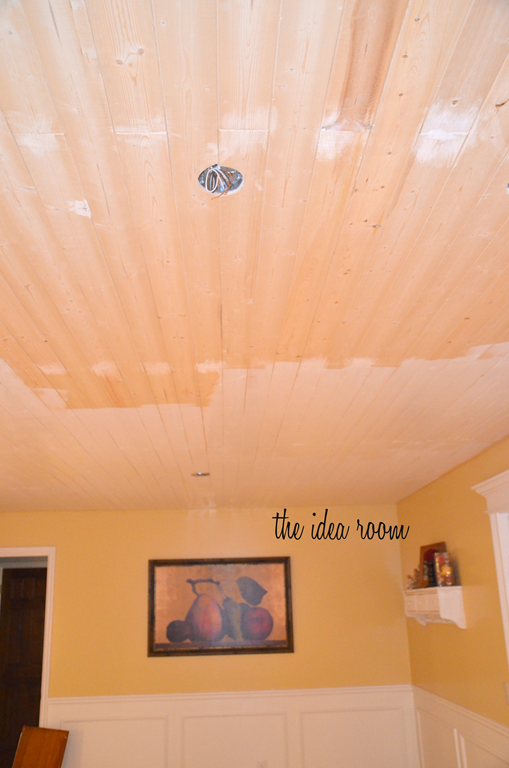 How To Diy A Wood Plank Ceiling Wood Plank Ceiling