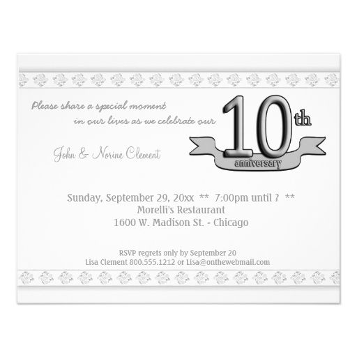 Silver damask 10th anniversary celebration invite 10th anniversary anniversary party invitations stopboris Image collections