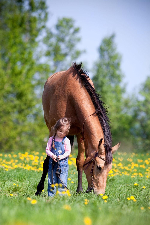 Pequeña niña con su caballo.