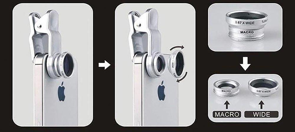 Fisheye lens 3 in 1 mobile phone lenses fish eye wide