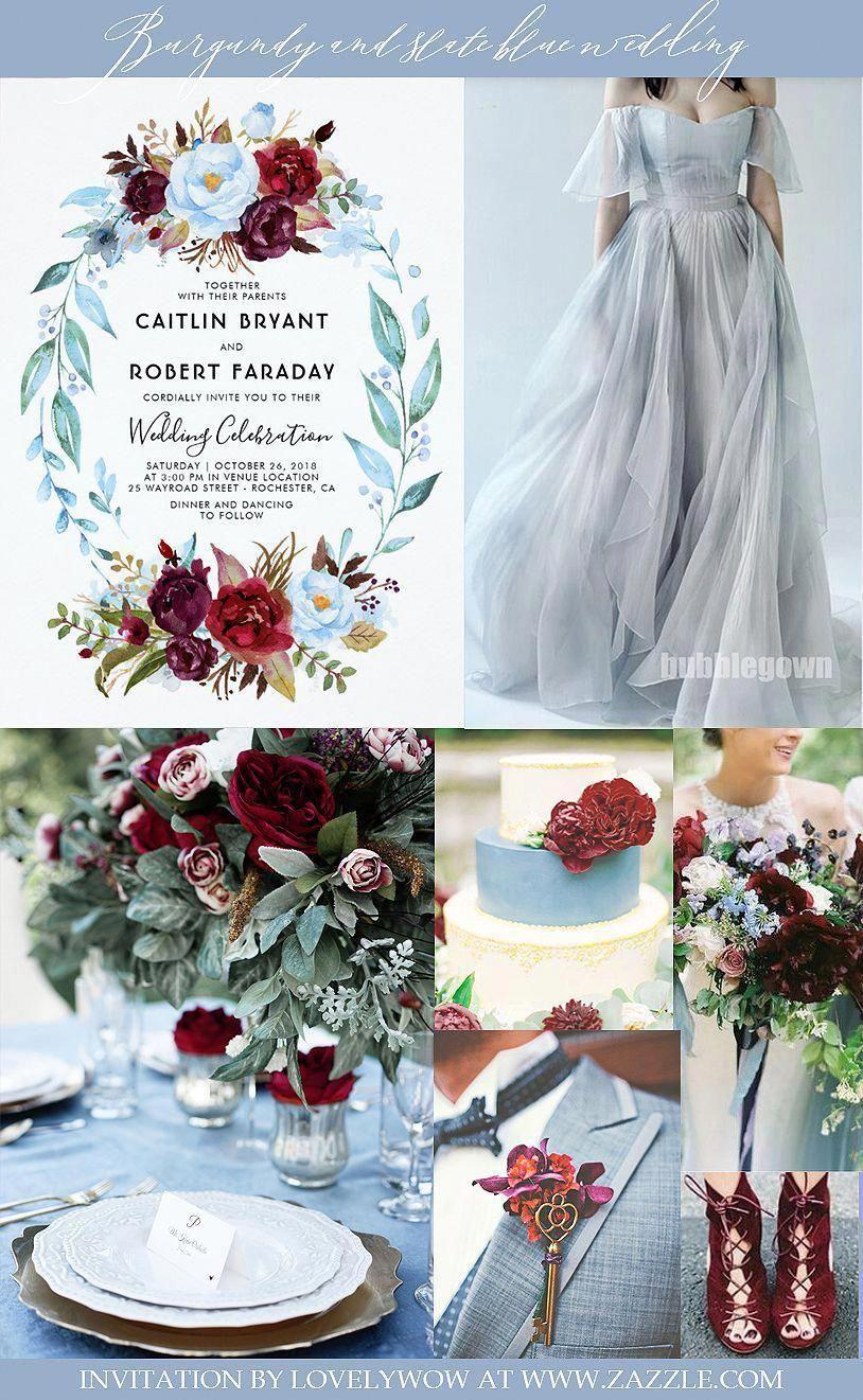 Burgundy Red and Dusty Blue Floral Wedding Invitation | Zazzle.com