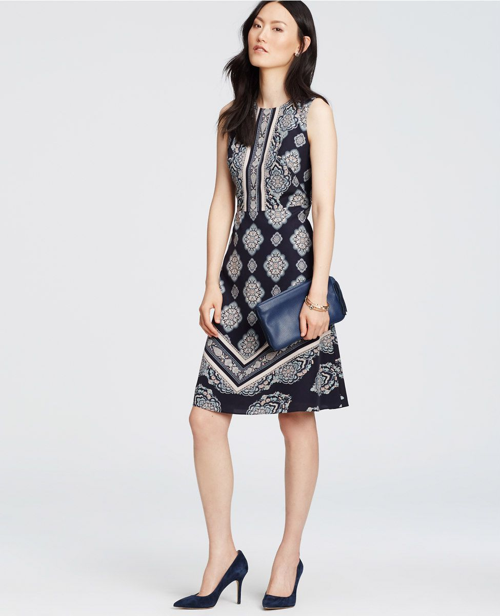 Paisley Mosaic Flare Dress | Ann Taylor.  Looks like the darts to fit the bust start from the side waist and angle up? Interesting.