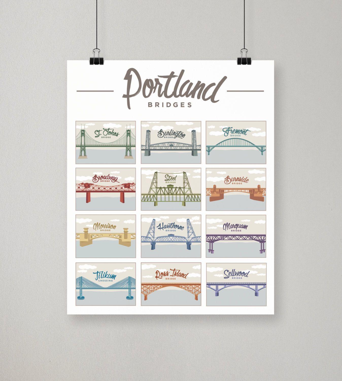 Portland bridges illustrated print portland oregon poster by portland bridges illustrated print portland oregon poster by brianamade on etsy https magicingreecefo Choice Image